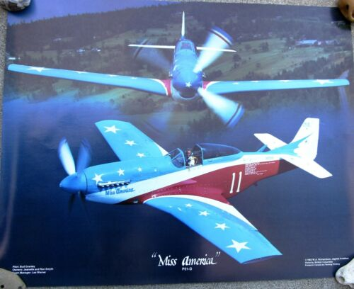 Poster - Miss America P51-D Mustang - 1983 - Aerobatic Flying Air Plane Airplane