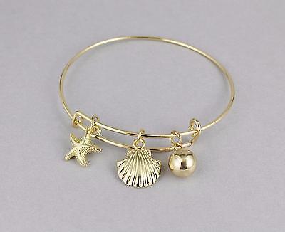 (Starfish bracelet sea shell bangle bracelet expandable thin skinny bangle gold)