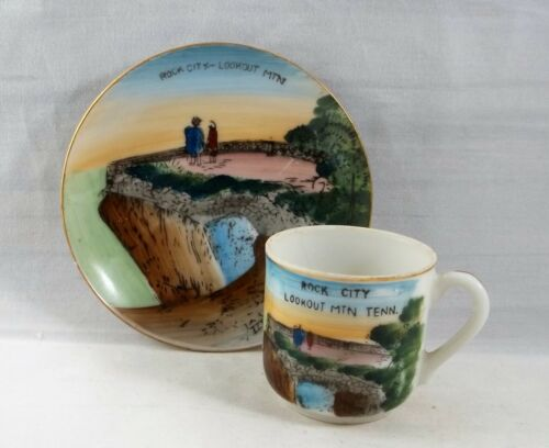 Rock City Lookout Mountain Vintage Miniature Cup & Plate Tennessee