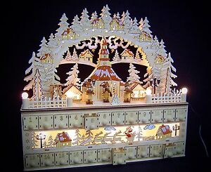 3D LED Lichterbogen Schwibbogen mit Adventskalender Kirche Seiffen 45 cm 10250