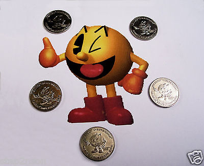 PACMAN 5 Nickel Silver Retro  Pac Man Pinball Arcade Machine vending tokens 90`s for sale  Shipping to Canada