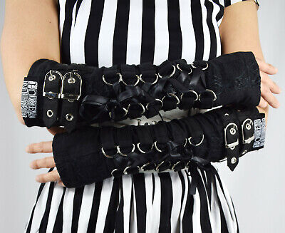 Poizen Industries Goth Punk Grunge Black Lace Up Buckles Orchid Arm warmers](Black Arm Warmers)
