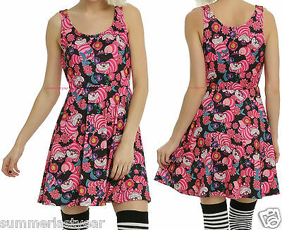 Cheshire Cat Kleid (FLORAL CHESHIRE CAT DRESS FOR JUNIORS DISNEY ALICE IN WONDERLAND FREE SHIP)