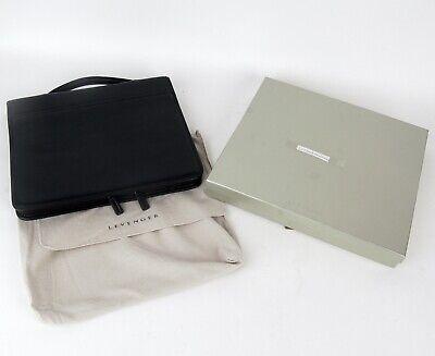 Levenger Black Pebbled Leather Zip Super Folio Letter Portfolio Handle Box New