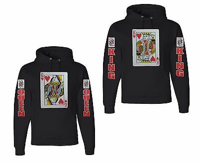 NEW! KING and QUEEN Playing Cards Couples Hoodies Black Valentine's Day Ideas (Valentine Day Card Ideas)