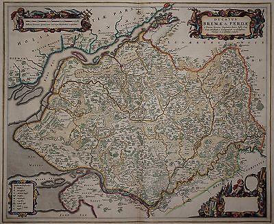 Ducatus Bremae & Ferdae - Elbe-Weser-Dreieck - Rare Karte von Joan Blaeu 1665