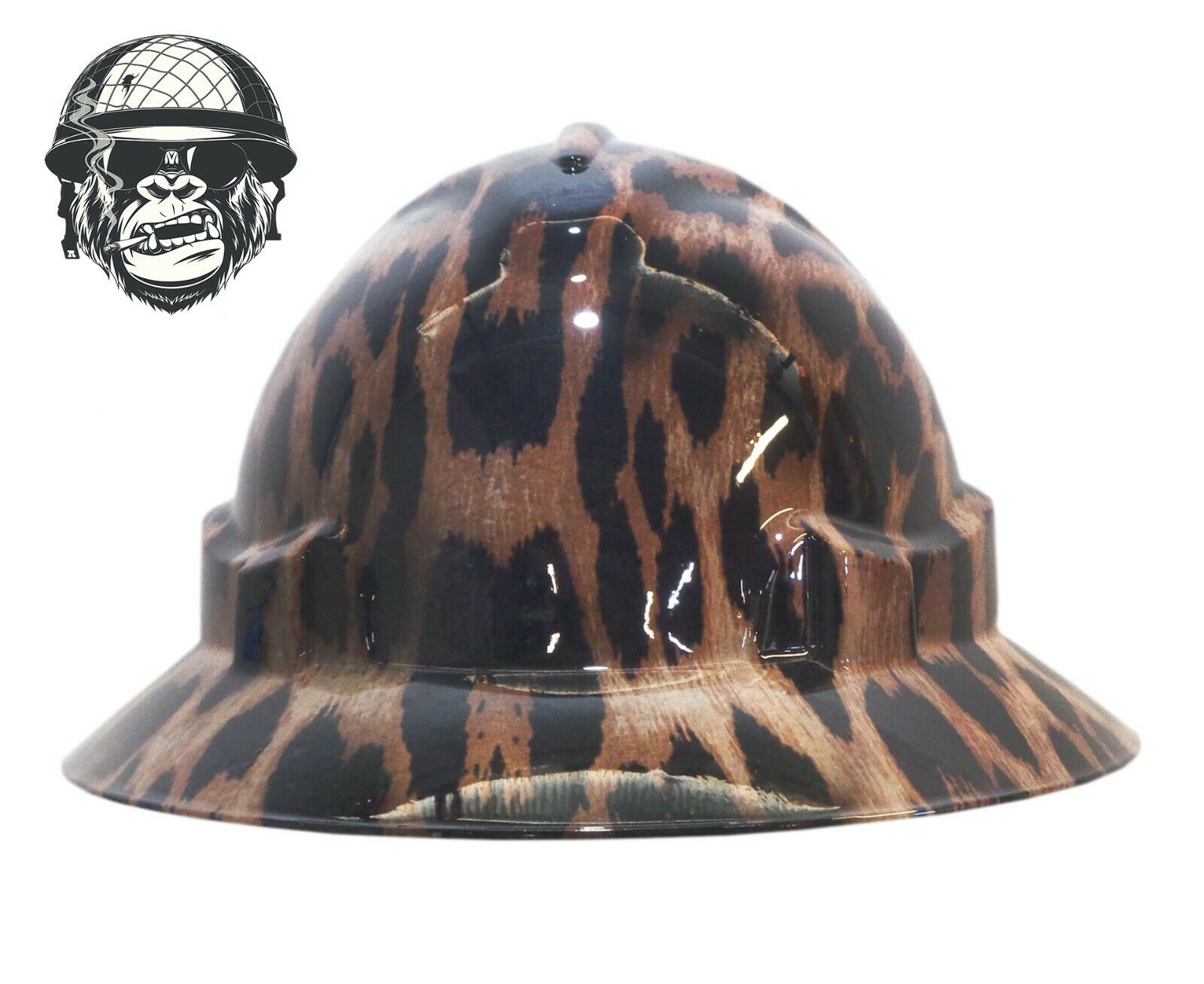 Custom Hydrographic Safety Hard Hat Animal LEOPARD PRINT WIDE