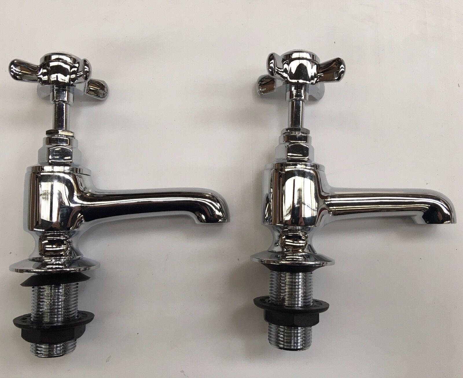 Details about CG Chrome Bath Single Lever Double Bloc Mixer Filler Low 2TH Tap Heritage Cross