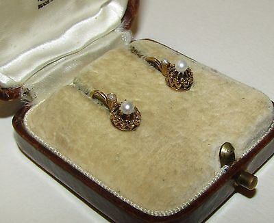ELEGANT, ANTIQUE, GEORGIAN, FRENCH,18 CT GOLD DORMEUSES EARRINGS WITH FINE PEARL