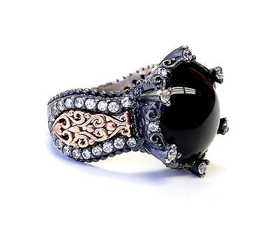 Women's Silver Fashion Ring With White Diamonds And Onyx Center By Sacred Angels