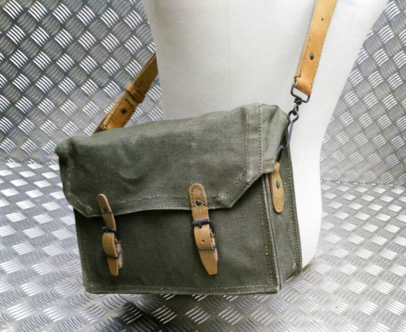 Genuine Vintage French Military Canvas / Leather / Satchel / Messenger Bag