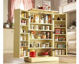 Freestanding Larder Wooden Cupboard Buttermilk Kitchen Food Storage Cabinet