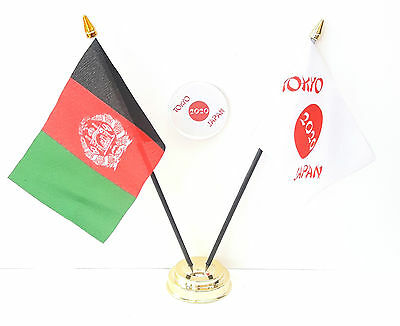 Afghanistan & Tokyo Japan Olympics 2020 Friendship Desk Flags & 59mm Badge Set