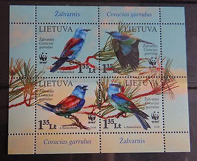WWF Birds - full set - stamps of Lithuania 2008 Lituania Lituanie Litauen MNH