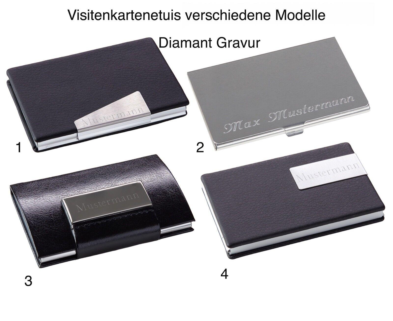 Visitenkartenetui Visitenkartenbox Lederoptik Aluminium mit Wunsch Gravur NEU