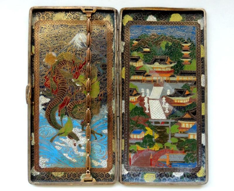 COLORFUL Japanese enamel BRASS/Cloisonne Shogun TOWN/DRAGON cigarette/card CASE