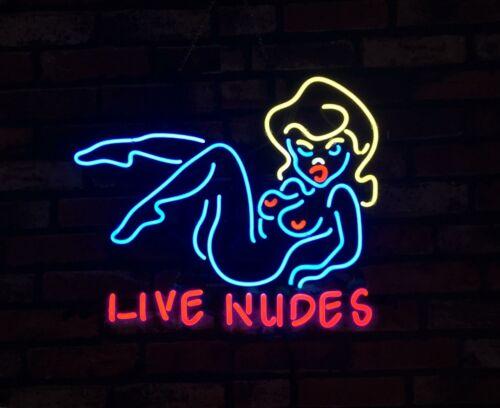 """LIVE NUDES"" Sexy Girl Vintage Porcelain Neon Sign Beer Cust"