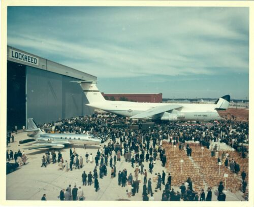 8 x 10 Color Photo Lockheed C-5 Galaxy Transport Aircraft 1968 Roll-Out Georgia