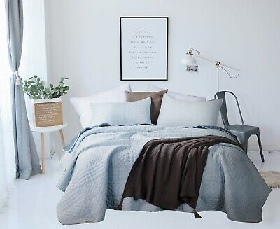 Kasentex Quilted Coverlet 3-PC Bedding Set 2-Tone Reversible. Ultra Soft.