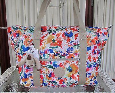 Kipling Art M Printed Tote Bag Weekender Travel Shopper Floral Night Natural NWT