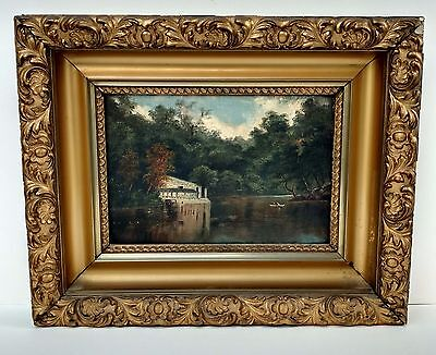 Hudson River School Sanford Gifford Manner Landscape Painting Signed Illegibly
