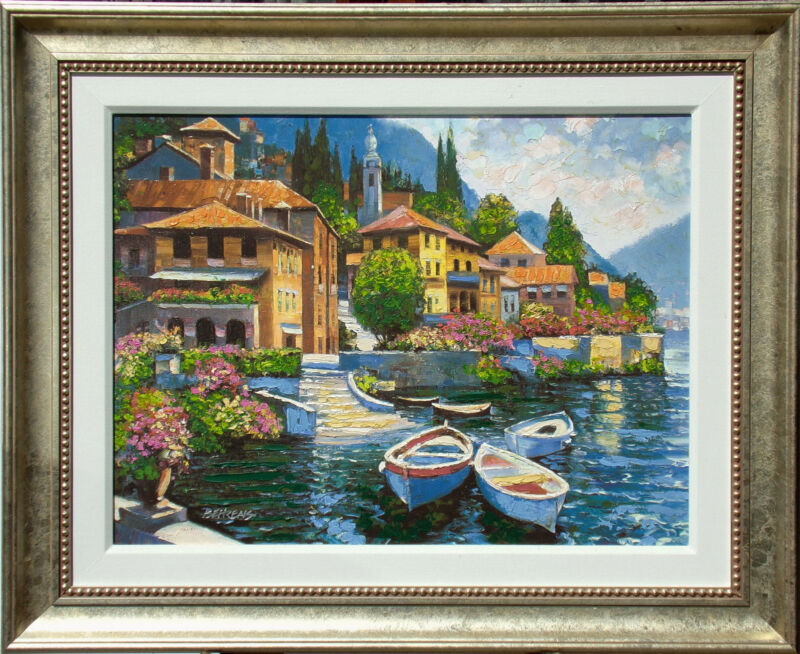 "Howard Behrens ""lake Como Landing"" Hand Embellished Signed Art Giclee On Canvas"