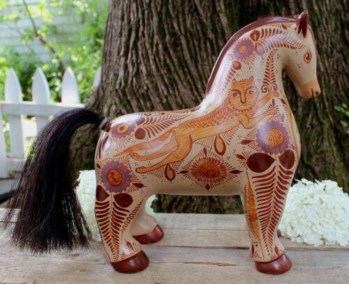 XL Horse Canelo Cinnamon Pottery by Pajarito Handmade Tonala Mexican Folk Art