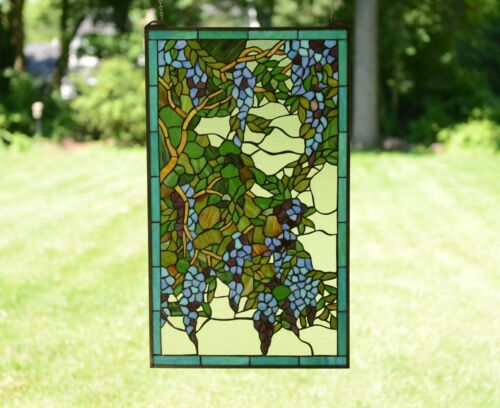 """20"""" x 34"""" Large Tiffany stained Style glass window panel wisteria flowers"""