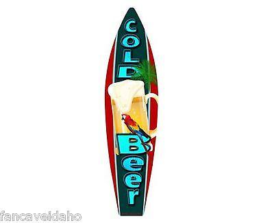 Cold Beer Frosty Mug Metal Novelty Surfboard Sign 17