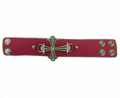Pink Cross Gothic Punk Biker Genuine Leather Bracelet