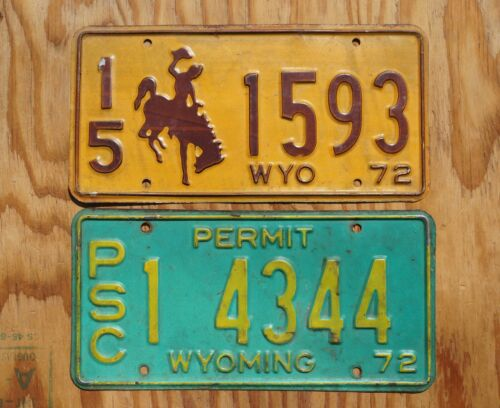 1972 Wyoming License Plate - LOT OF 2