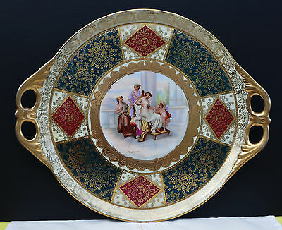"""Prunkvolle Porzellan Tortenplatte """" Allegorie """" um 1900 sign. Kaufmann !!!"""