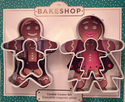 NEW The Bake Shop Set 4 Holiday Gingerbread Family Christmas Cookie Cutters Holiday Bake Shop