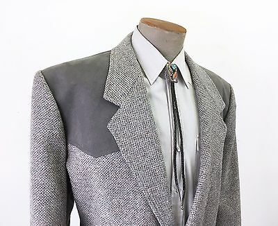 Vintage PENDLETON Western Wool Tweed Men's Gray Suit Jacket Size 52 Long (XL)