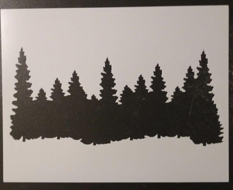 """Forest Line Pine Trees Smokey Mountains 11"""" x 8.5"""" Stencil FAST FREE SHIPPING"""
