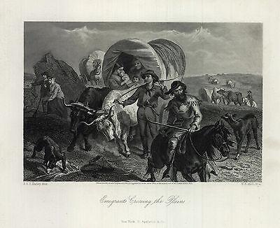 1873 Picturesque America Print:Emigrants Crossing the Plains  Original Engraving