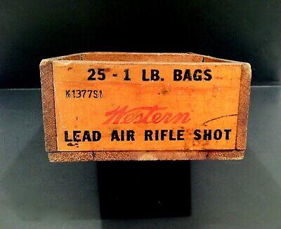 Vintage 1900-20 Western Lead Air Rifle Shot Wood Advertising Crate Sign NICE