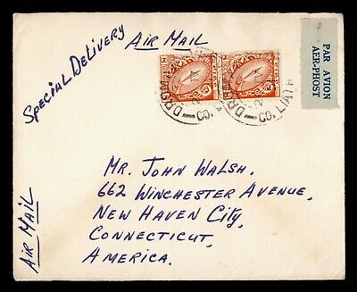 DR WHO 1951 IRELAND DROMAN VWOH? SPECIAL DELIVERY AIRMAIL TO USA  g19755