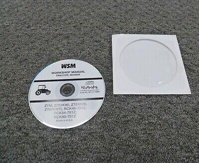 Kubota Ztm Z751kwi Zero-turn Mower Rck48-751z Deck Service Repair Manual Cd