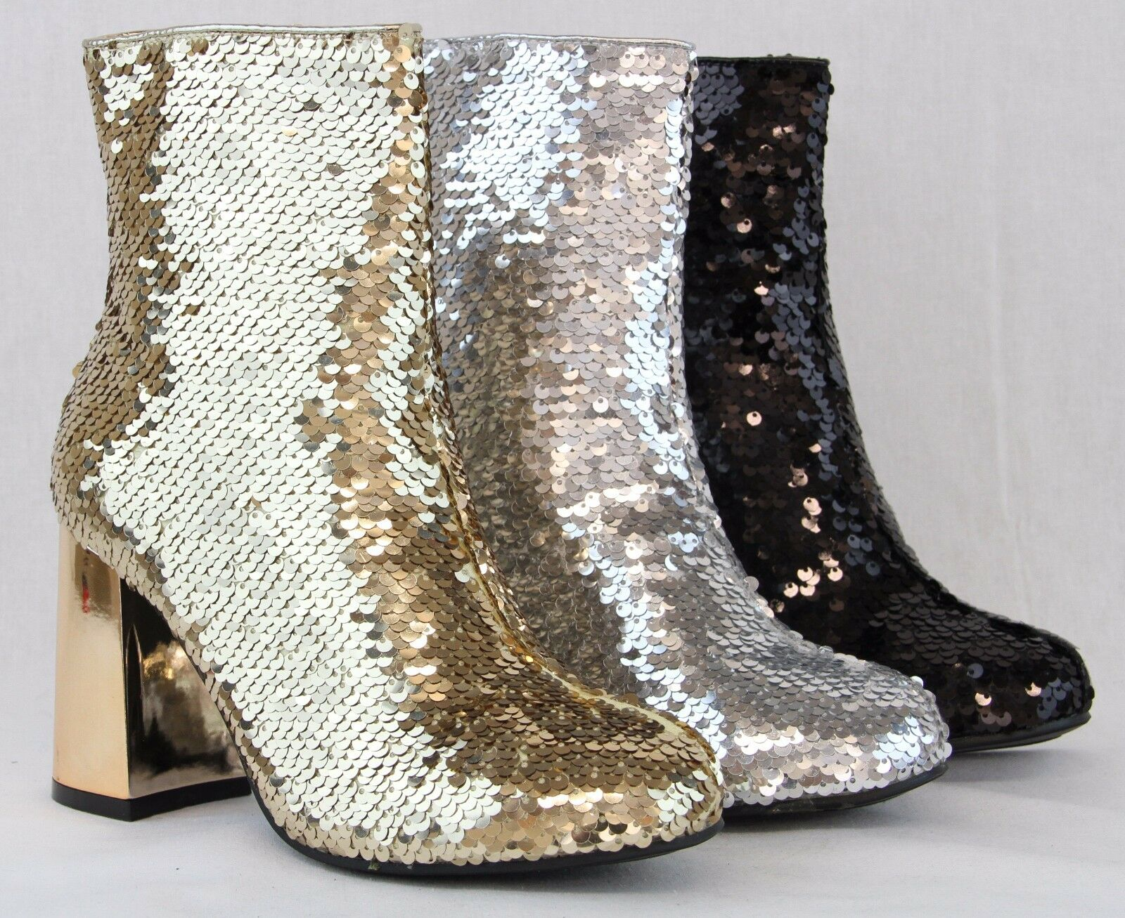 Women Sexy High Thick Heels Booties New Sequin Shiny Glitter