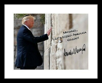 Customized President Donald Trump 8X10 Signed Photo Autographed Western Wall