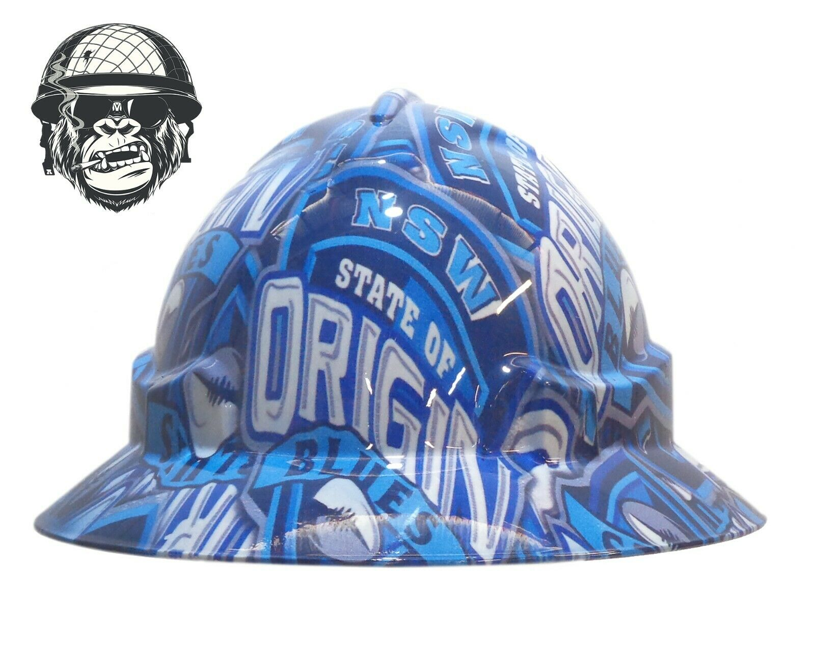 Custom Hydrographic Wide Brim Safety Hard Hat Rugby Origin NSW BLUES WIDE