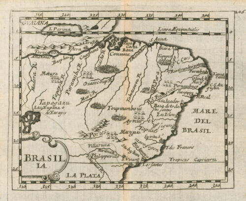 Original antique map of Brazil Brasil Brasilia by Pierre Duval from 1685
