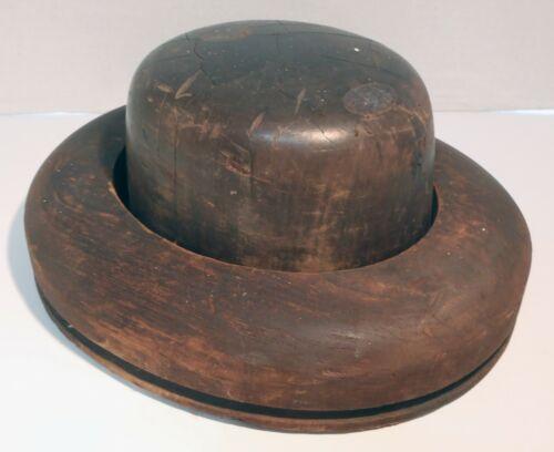 Antique Size 7⅛ Wooden Hat Mold 2-Piece Primitive Millinery Brim Form