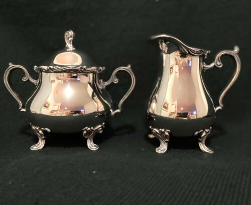 Vintage Silver Plated Sugar Bowl and Creamer Leonard