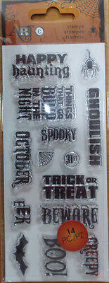 14pc Art-c acrylic stamp set Halloween words sayings bat spider web creepy boo