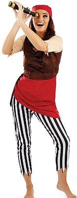 Damen Piraten Deck Hand Halloween Kostüm Kleid Outfit UK 8-22 - Übergröße Damen Piraten Kostüm