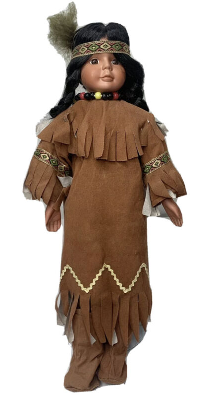 """Native American Girl Doll 17"""" with stand Traditional Dress"""