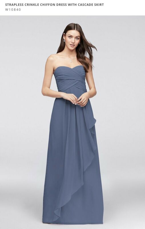 David's Bridal Strapless Bridesmaid Dress With Cascade Skirt Size 4 Steel Blue