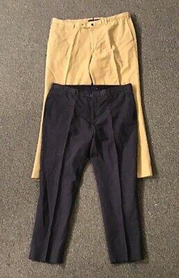 2 Pr Mens Incotex Chinolino Linen/Cotton Blend Blue & Khaki Pants Size 42